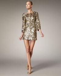 Marchesa   Metallic Sequined Shift Dress   Lyst