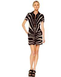 Michael Kors | Multicolor Oversized Zebra-print Shirtdress | Lyst