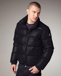 Moncler - Blue Puffer Bomber Jacket for Men - Lyst
