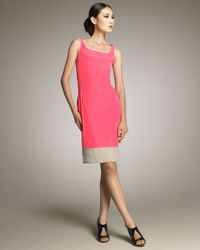 Narciso Rodriguez - Pink Contrast-trim Sheath Dress - Lyst