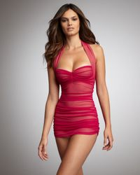 Norma Kamali - Red Mesh Ruched Swimdress - Lyst