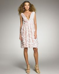Oscar de la Renta - Pink Petal-applique Cocktail Dress - Lyst