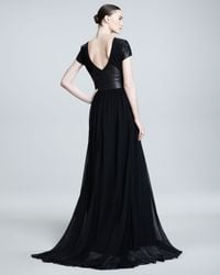 Pamella Roland | Black Leatherinset Gown | Lyst