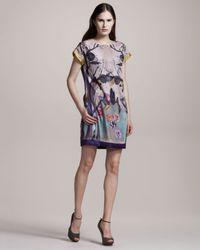 Philosophy di Alberta Ferretti   Purple Printed Shift Dress   Lyst