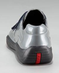 Prada Metallic Manhattan Patent Sneaker, Gray for men