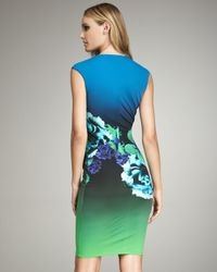 Roberto Cavalli - Blue Deep V-neck Floral Dress - Lyst