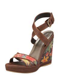 Stuart Weitzman | Brown Ankle-wrap Wedge Sandal | Lyst