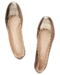 Chloé   Gold Lauren Metallic Leather Ballet Flats   Lyst