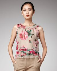 Dolce & Gabbana | Multicolor Peony-print Chiffon Top | Lyst