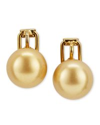 Majorica | Metallic Pearl Clip Earrings Champagne | Lyst