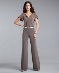 St. John | Gray Diana Marocain Pants, Dove | Lyst