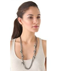 Giles & Brother - Metallic Long Multichain Archer Necklace with Pave - Lyst