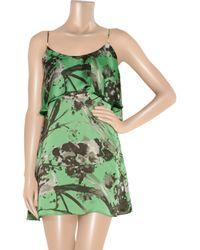 T-bags | Green Floral-print Satin Mini Dress | Lyst