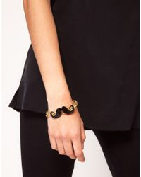 ASOS - Black Chunky Bracelet with Moustache Charm - Lyst