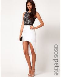 ASOS Collection | Black Asos Petite Exclusive Dress with Lazercut Detail and High Low Hem | Lyst