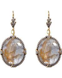 Cathy Waterman | Metallic Sapphire Leaf Top Earrings | Lyst