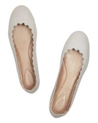 Chloé | Natural Lauren Leather Ballet Flats | Lyst