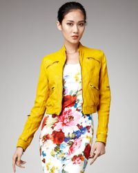 Dolce & Gabbana | Yellow Zip-pocket Leather Jacket | Lyst