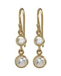 Finn - Metallic Diamond Double Drop Earrings - Lyst