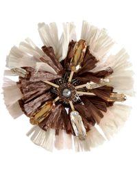 Lanvin - Metallic Raffia Mask Flower Necklace - Lyst
