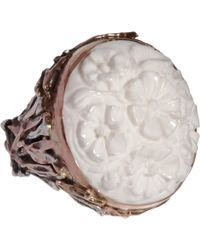 Sandra Dini - Metallic White Agate Ring - Lyst