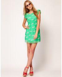 Sugarhill - Brown Sugarhill Boutique Chiffon Kissing Swans Skater Dress - Lyst