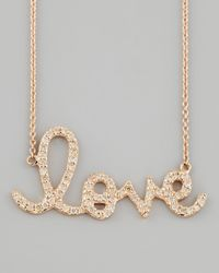 Sydney Evan | Metallic Rose Gold Diamond Love Necklace Large | Lyst