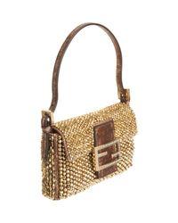 Fendi - Metallic Mini Beaded Baguette Bag - Lyst