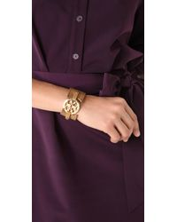 Tory Burch - Brown Double Snap Logo Cuff - Lyst