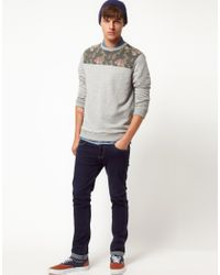 ASOS Gray Sweatshirt with Floral Front Yoke for men
