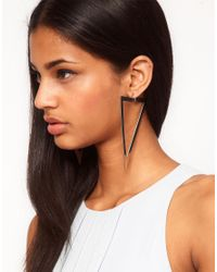 ASOS - Metallic Flat Triangle Drop Earrings - Lyst