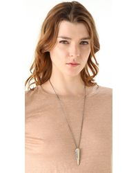 Elizabeth and James - Metallic Feather Necklace - Lyst