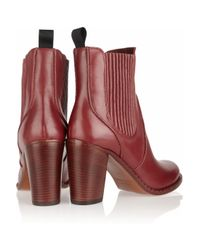 Marc By Marc Jacobs | Red Stackedheel Leather Ankle Boots | Lyst
