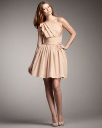 Robert Rodriguez - Natural Elise One-shoulder Pleated Dress - Lyst