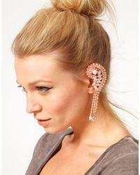 Swarovski - Pink Asos Rhinestone Ear Cuff with Stones - Lyst