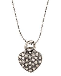 Sydney Evan | Metallic Pave Heart Necklace | Lyst