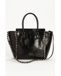 Valentino | Black Rockstud Small Textured Leather Tote | Lyst