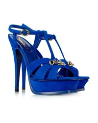 Saint Laurent | Blue Tribute Chain-detailed Suede Sandals | Lyst