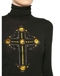 Versace | Black Jewelled Cross Wool Knit Sweater | Lyst