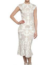 Alexander McQueen | White Wool Rayon Jacquard Peplum Dress | Lyst