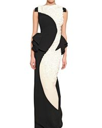 Antonio Berardi | Black Embroidered Rayon Cady Long Dress | Lyst