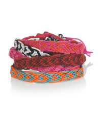 Chan Luu - Pink Set Of Five Braided Cotton Friendship Bracelets - Lyst