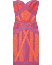 Hervé Léger - Orange Geometric Jacquard Bandage Dress - Lyst