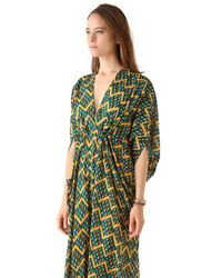 Issa - Green Chiffon Caftan Maxi Dress - Lyst