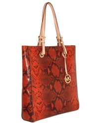 MICHAEL Michael Kors | Brown Jet Set Python Printed Leather Tote | Lyst