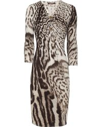 Roberto Cavalli - Brown Animal-Print Stretch Jersey Dress - Lyst