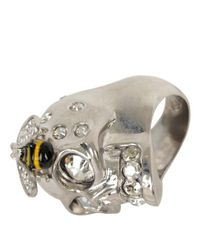Alexander McQueen - Metallic Crystal Bee and Skull Cocktail Ring - Lyst