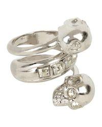 Alexander McQueen | Metallic Silverwhite Crystal Twin Skull Ring | Lyst