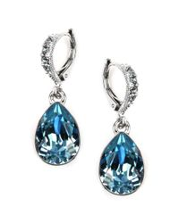 Givenchy | Blue Silver Tone Aqua and Sapphire Crystal Teardrop Earrings | Lyst