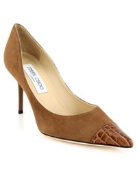 Jimmy Choo | Beige Alias Suede Crocodileembossed Leather Pumps | Lyst